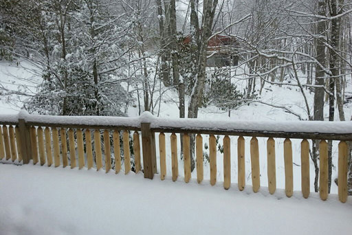 Property in snowfall in Mountain Creek Cabin in Maggie Valley, NC