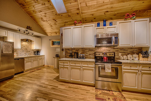 Full kitchen in Mountain Creek Cabin in Maggie Valley, NC