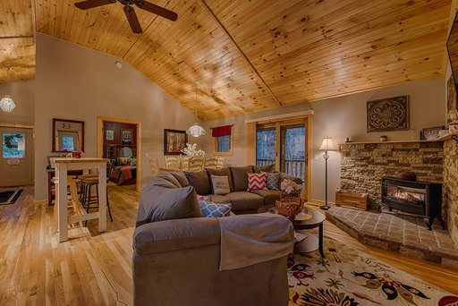 Living area in Mountain Creek Cabin in Maggie Valley, NC